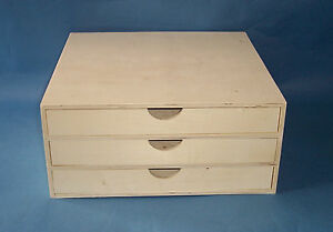 New Wooden 3 Drawer Unit Mini Chest Craft Scrapbooking
