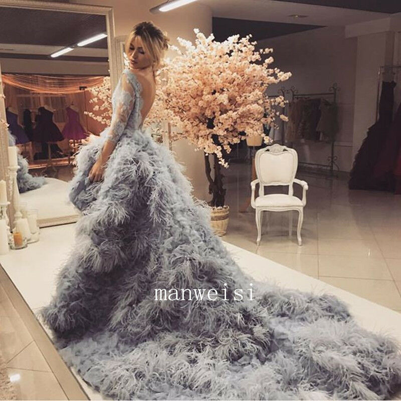 Wedding Gown With Feathers: 2017 Ostrich Feather Luxury Wedding Dress Backless Hi-Lo