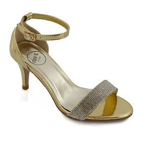 Details about Womens Party Sandals Low Heel Stiletto Peeptoe Ladies Diamante Ankle Strap Shoes