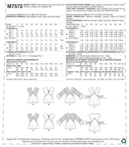 mccalls - 7572-M Mccalls Femmes EASY sewing pattern 7572 V encolure froncée Tops