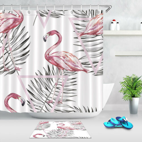 "60//72/"" Palm Leaves Pink Flamingo Waterproof Fabric Bathroom Shower Curtain Hooks"