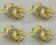 50 RONDELLE 6MM RHINESTONE BRASS GOLD SPACER BEADS - Clear - SP38