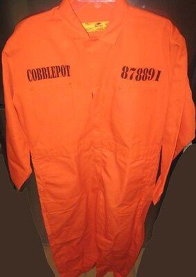 Batman PENGUIN Cobblepot Blackgate Penitentiary Orang Jumpsuit Halloween Costume