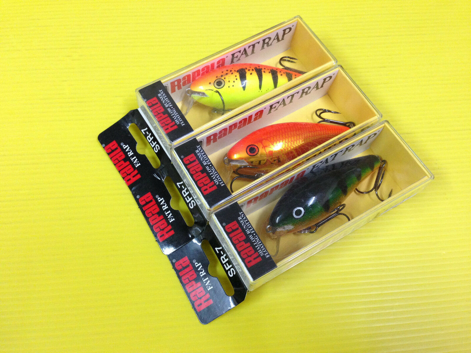 Lot D Three Rapala Shallow Fat Rap SFR-7 in P, GF & HT colors Lures, NIB.