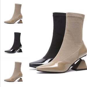 Womens-Sock-Knitted-Boots-Square-Toe-Shoes-Mid-Calf-Chunky-Irregular-Heels-Pumps