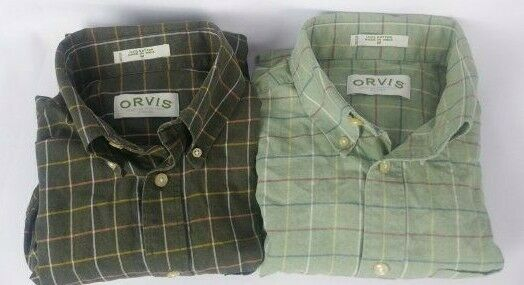 Orvis Mens Size M 2 Shirt Lot Long Sleeve Button Down Multi color Plaid RN70534