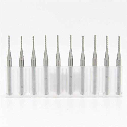 JIUWU 1.0mm Tungsten Steel Carbide PCB CNC End Mill Engraving Bits Milling