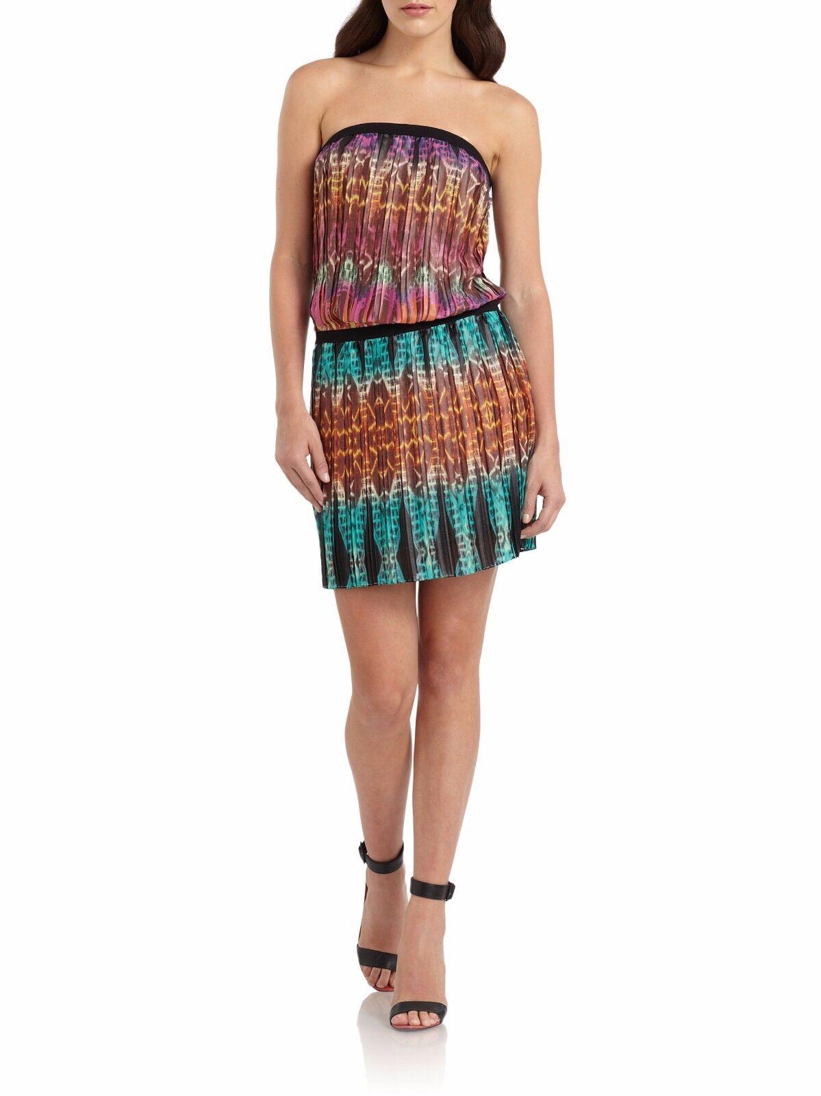NWT BCBG Maxazria L taja printed strapless mini dress pleated  multi color