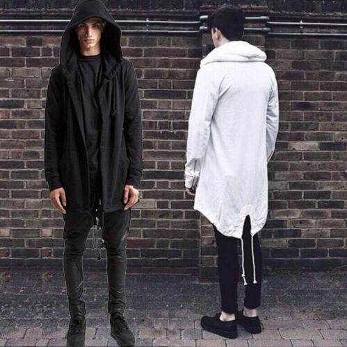 Hot Men/'s Long Line Hip Hop Zipper Hoodie Sweatshirts Jacket Pullover