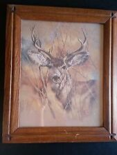 Vintage K. Maroon 1978 Silent Buck Deer With Wood Picture Frame