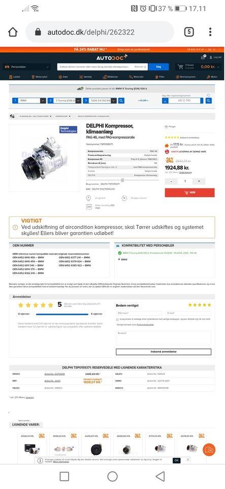 Klimaanlæg, Fabriks ny klimakompressor, BMW E46 E39 E38