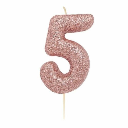 Rose Gold Glitter Birthday Cake Number Candle Pick Topper Age 0-9