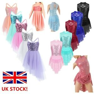 Girls-Ballet-Lyrical-Dance-Dress-Kid-Sequins-Irregular-Gym-Dancewear-Costume-UK