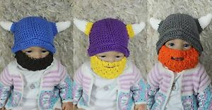 3ed6ad9748e New Handmade Knit Crochet Baby Child Kids Full Beard Hat Cap Ox horn ...