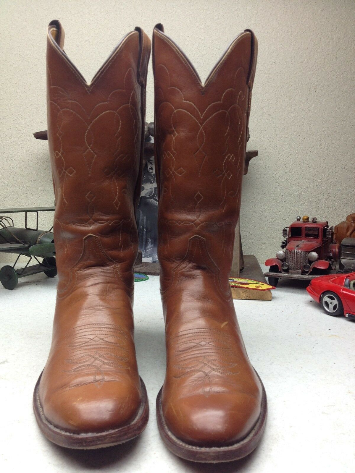 DISTRESSED JUSTIN USA STYLE 5527 BROWN LEATHER WESTERN TRAIL BOSS BOOTS 9.5 B