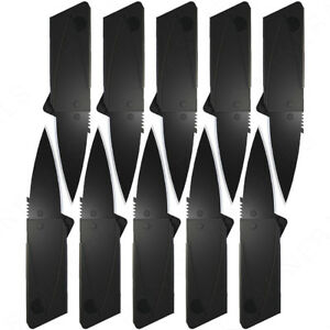 10x Credit Card Folding Knife Black Wallet Razor Sharp Hunting Camping USA