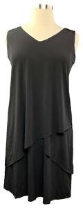 SUSAN-GRAVER-Size-XS-Black-Liquid-Knit-Layered-Sleeveless-V-neck-Knee-Dress