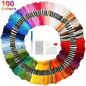 Faminess Embroidery Threads 100 Skeins Friendship Bracelets Floss Sewing Threads