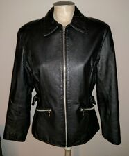 wilsons leather ladies m black biker chick jacket coat cafe fitted motorcycle