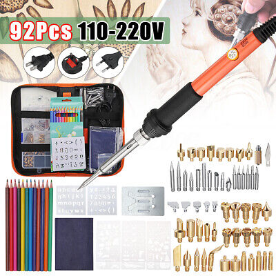 94PCS 60W Wood Burning Pen Set Soldering Stencil Iron Art Craft Pyrography Kit