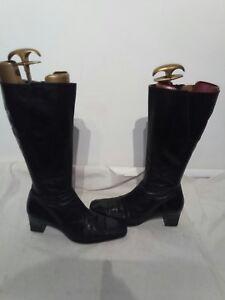 scarpe sportive 486f4 3f36e Dettagli su MELLUSO Donna Nero Pelle Stivali Taglia 6 RIF Ap02- mostra il  titolo originale