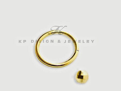 18 g lèvre 14k solide or jaune nez piercing oreille Anneau Avec Diamant Coupe boule