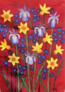 """Flowers on Red Garden Flag by Toland, 12.5"""" x 18"""",  #5064, Iris, Daffodil"""