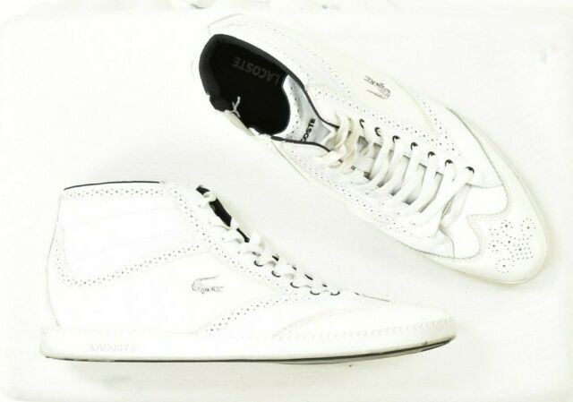 Lacoste Size 13 White Leather Sneakers High Tops Men's Shoes