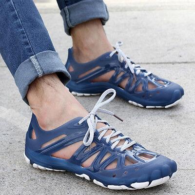 Mens Hollow Out Lace Up Plastic Sandals