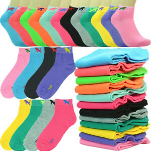 6-12 Pairs Fashion Cotton Women Ankle Low Cut School Casual Socks 9-11 plain mix