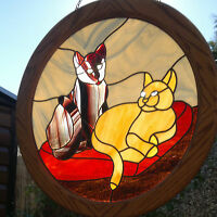 """Large 21.5"""" Cats Stained Glass Sun Catcher Window Hanging Picture Panel Handmade"""