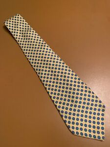 Euc-Turnbull-amp-Asser-Yellow-Blue-Polka-Dot-Silk-Tie-UK-Made-Men-s-58-3-75