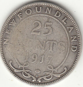 925-Silver-1917c-Newfoundland-25-Cent-Piece-VG-8