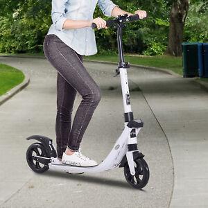 HOMCOM-Folding-Kick-Scooter-Teens-Adult-Ride-On-Adjustable-2-Big-Wheels-White