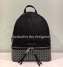 NWT Michael Kors Rhea Zip Medium Grommet Backpack Leather Black/Silver $378