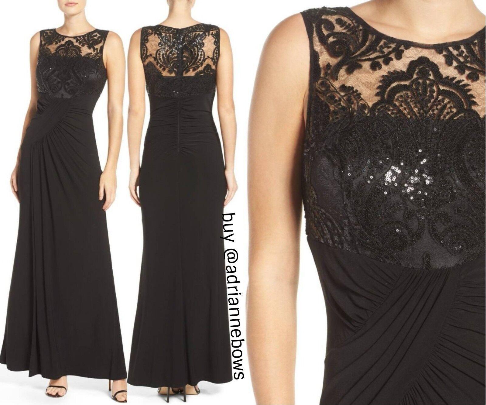 Nueva azulsa De Encaje Eliza J Con  Lentejuelas Vestido Vestido Negro Drapeado Jersey [Talla 4]  N886  deportes calientes