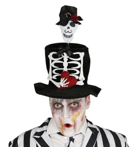 Noir Squelette Top Hat Halloween Accessoires Costume Robe Fantaisie le jour des morts