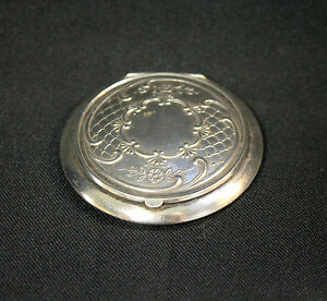 Antique-875-Silver-Mirror-Compact-Floral-Lace-Pattern-Top-Russian