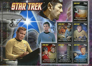 Micronesie-2008-neuf-sans-charniere-Star-Trek-Capitaine-Kirk-Spock-Nimoy-McCoy-6-V-M-S-II-timbres