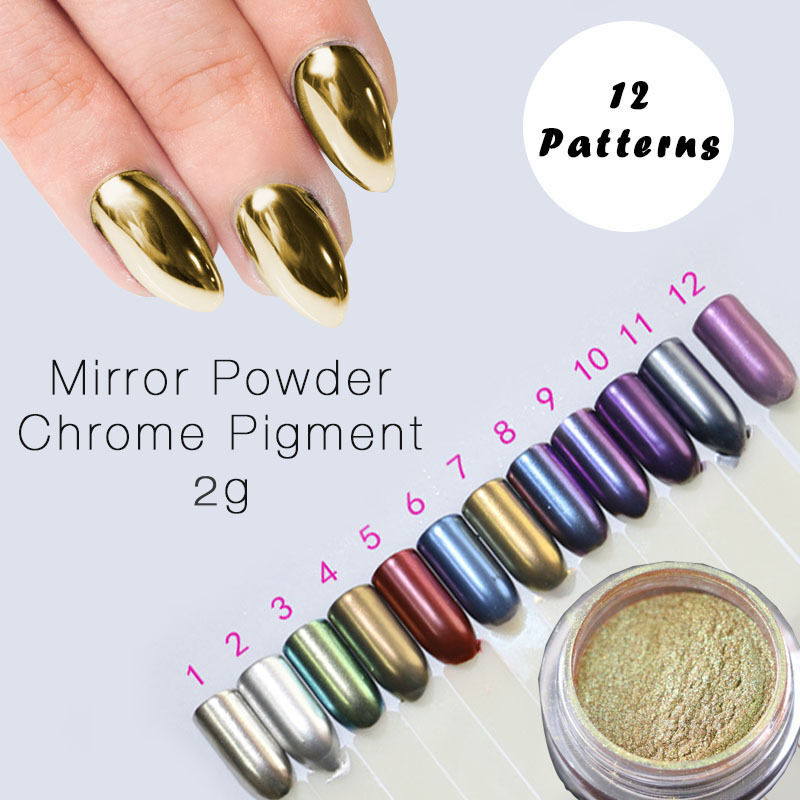 7 COLOUR SET 2g/box Mirror Effect Metallic Nail Powder Dust Chrome ...