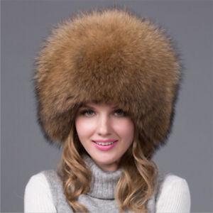 341d283ae Details about Womens Russian Style Full-pelt Fox Fur Top Hat Raccoon Fur  Earmuff Hat Ushanka
