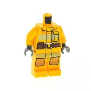1x-Lego-Figur-Frau-Torso-hell-orange-Feuer-Logo-Beine-hell-orange-973pb1011c01