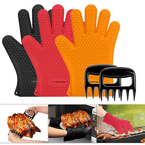 Silicone Cooking Gloves – Heat Resistant Oven Mitt for Grilling, BBQ, Kit...