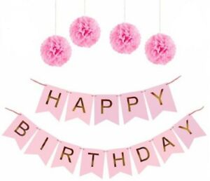 happy birthday banner chic garland pink with gold foil lettering