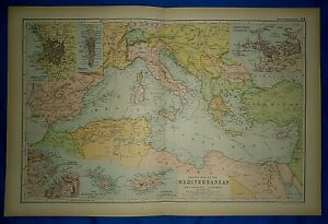 Vintage-1892-MEDITERRANEAN-SEA-amp-ADJACENT-COUNTRIES-MAP-Old-Antique-Original