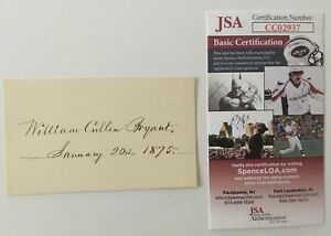 William-Cullen-Bryant-Signed-Autographed-2-5-x-4-25-Card-JSA-Certified-Poet