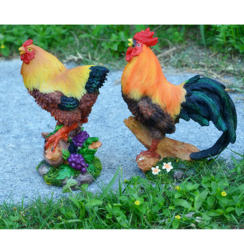 1Pair Resin Chicken Models Figure for Lawn Outdoor Home Fairy Ornament
