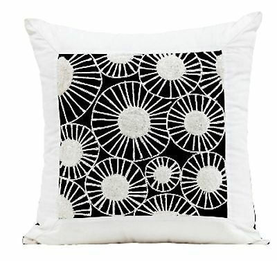 Waterlily embroidered cotton cushion cover white and black