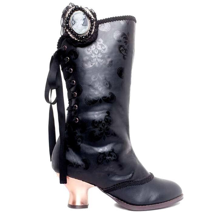 Hades clara negro elegante steampunk steampunk steampunk victoriana botas con cordones trasera Cameo Mitad de Pantorrilla  A la venta con descuento del 70%.