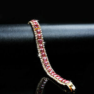 14k-Yellow-Gold-Over-6-75-Ct-Red-Ruby-amp-Round-Cut-Diamond-Tennis-Bracelet-7-25-034